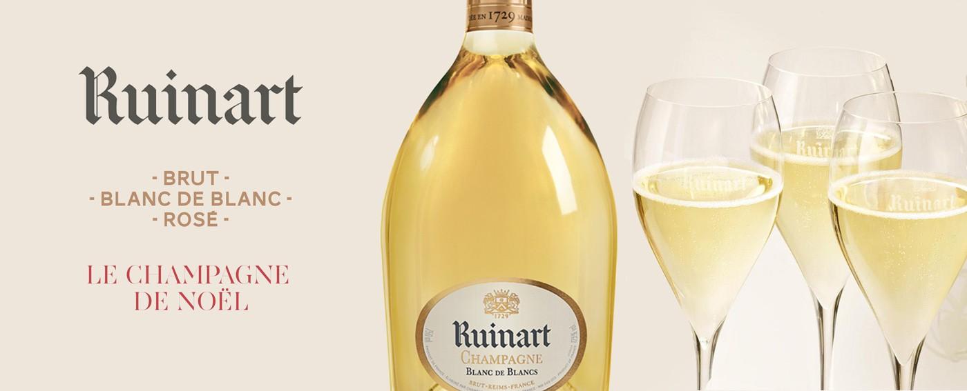 Champagne Ruinart, noel sur 12bouteilles